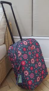 Smallest Travel Luggage Suitcase Carry On Hand Cabin On Wheels Charcoal And Pink Floral Print Small Expanding Trolly Light Weight