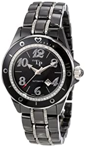 Lucien Piccard Women's 27108BK Celano Automatic Diamond Accented Black Mother-Of-Pearl Dial Black Ceramic Watch