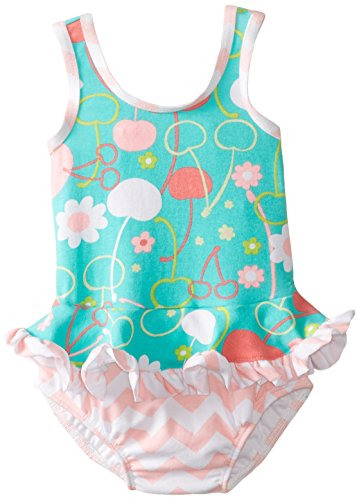 Flap Happy Baby Girls' Stella Ruffle Suit with Swim Diaper, Cherry Blossoms, 12 Months