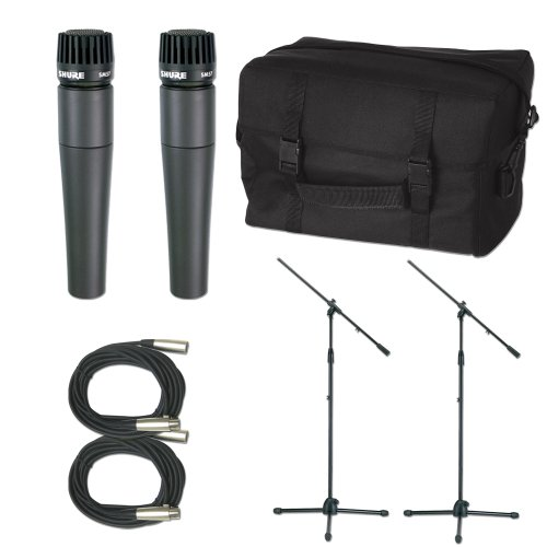 Shure 2 X Sm57 Mic Pack W/Stands Cables And Bag