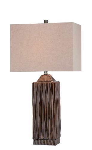 Lite Source LS-21619 Table Lamp, Brushed Dark Walnut with Cream Shade