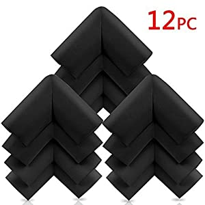 KaLe Baby Anti-Collision Furniture Safety Corner Bumpers - Children Edge & Corner Guards - Spongy Protective Set, With 4 Free Adhesive Tapes Per Pack, 12 Packs, Black Color