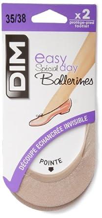 Dim - Spécial Ballerines - Protège-bas & Socquettes - Lot de 2 - 50 DEN - Femme - Beige (Naturel) - FR : 38 (Taille fabricant : 35/38)