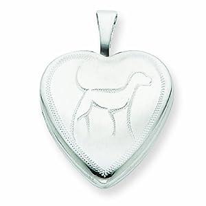Sterling Silver 16mm Dog Heart Locket