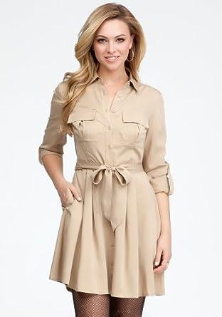 bebe Kendra Sash Shirt Dress Day Dresses Nomad-xl at Amazon Women's