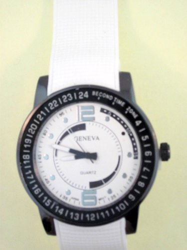 White Silicone Rubber Gel Watch Checked Embossed Band White Face. Numbers Around Bezel