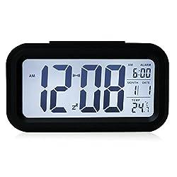 YIMAN™ Led Clock Smart Oversized Backlit Digital Display Intelligent Alarm Clock with Date and Temperature(Black)