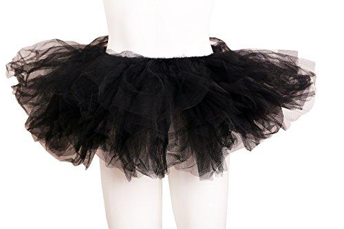 ELLITE Women's Multilayer Organza Tutu Party Dress Tulle Pettiskirt Black