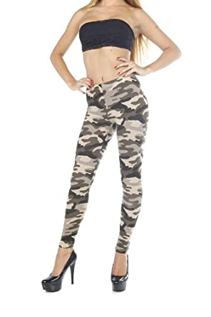 Military Camou Camouflage Print Casual Cotton Tights Legging Full Length (Small, Grey Leopard)