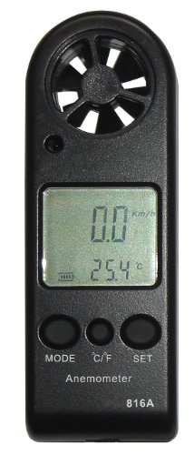 Evanmore professional pocket digital anemometer wind speed, air velocity meter, temperature measure, thermometer gauge with backlit LCD display, battery and lanyard - perfect for kite boarding, windsurfing, sailing, mountaineering, paragliding