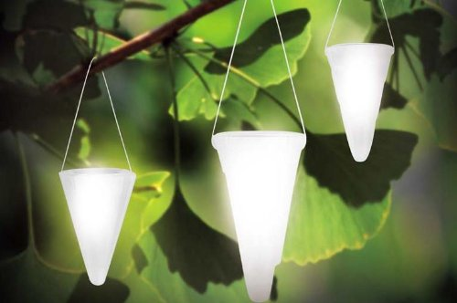 Hanging Solar Garden Light - Cornet Shaped Solar Lights, Solar Tree Lighting - Set of Three (3) Lights