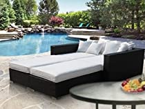 Big Sale LexMod Palisades Outdoor Wicker Patio Daybed 4 Piece Set in Espresso with White Cushions