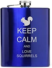 7 oz Stainless Steel Hip Flask Keep Calm and Love Squirrels Blue