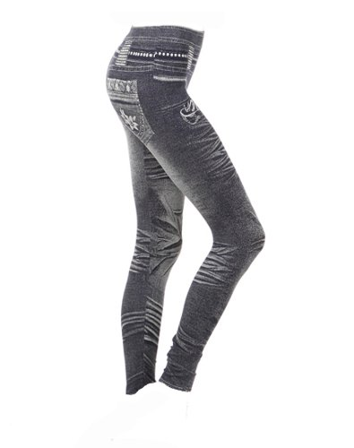 Sexy Banded Waistline Denim Print Leggings Jeans Print Legging