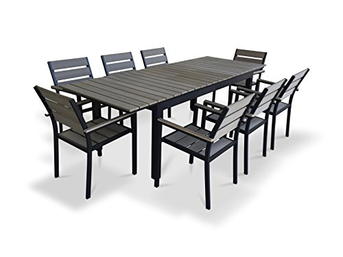 Urbanfurnishing Net 9 Piece Eco Wood Extendable Outdoor