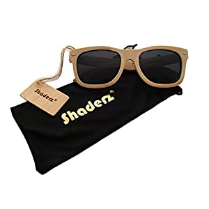 Shaderz Classic Polarized Genuine Bamboo Wood Wooden Sunglasses Black Lens