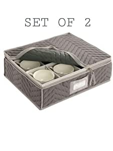 China Cup Storage Chest - Deluxe Quilted Microfiber (13H x 15.5W x 5D) (Grey, 2 PACK) by Richards Homewares