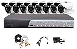 iPower Security SCCMBO0007-1T 8-Channel 1TB Hard Disk Full D1 DVR Security Surveillance System with 8 850TVL Cameras - Bullet (Grey/Black)