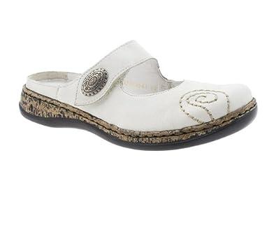 rieker womens white closed toe slip on mules co uk