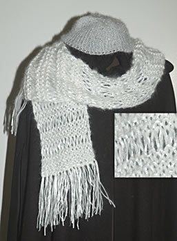 Girl's or Women's White Hand Knit Scarf and Hat