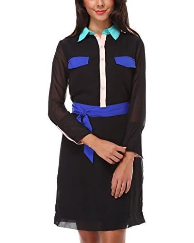 Almatrichi Vestido Camisero Negro / Multicolor