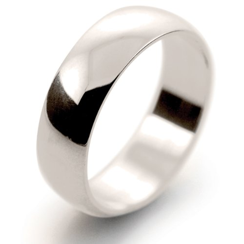 9ct White Gold Wedding Ring D Shape Band Light Weight 6mm
