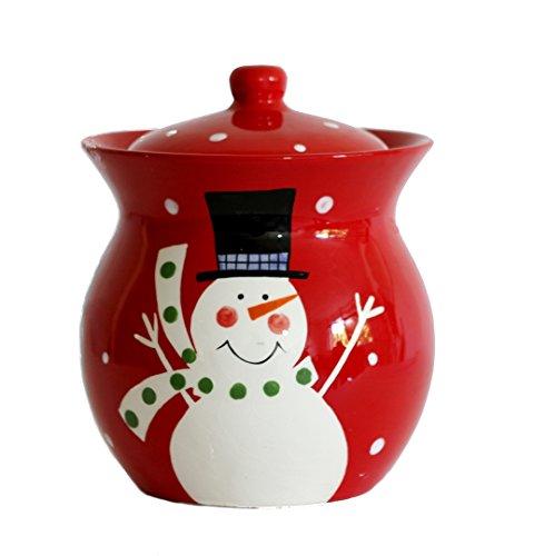 Sale Christmas Snowman Hand Painted Ceramic Cookie Jar