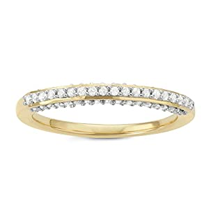 1/3 Cttw Diamond band in Sterling Silver with Yellow Gold Plating