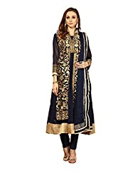 Yepme Women's Blue Blended Semi Stitched Suit - YPMRTS0136_Free Size