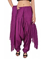 Stylenmart Purple Readymade Semi Patiala With Dupatta Set