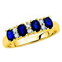10K Yellow Gold 0.11 ct. Diamond with Alternating 1 ct. Sapphire Ring