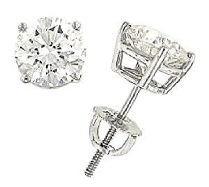 3.16cttw Round Brilliant Diamond Stud Earring w/ Screwbacks