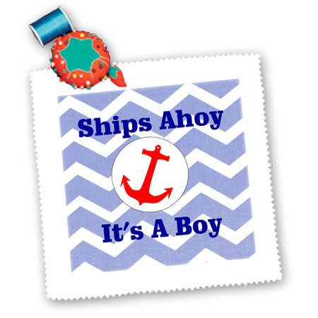 Qs_181096_5 Florene - Special Events - Image Of Ships Ahoy Its A Boy With Red Anchor On Blue Chevron - Quilt Squares - 14X14 Inch Quilt Square front-284635