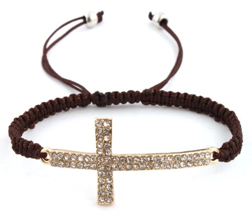 Brown Lace Style Iced Out Cross Bracelet with Beaded Disco Balls Macrame Shamballah