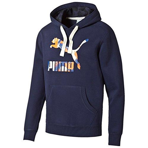 Puma Logo Filled Hoody Felpa, Uomo, Blu (Peacoat), Taglia M