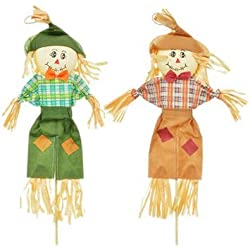 "Autumn Harvest Scarecrow Stakes, 28"" ~ Pack of 2 (Green and Brown)"