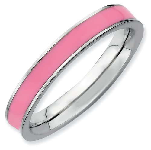 Sterling Silver Stackable Expressions Pink Enameled 3.25mm Ring (Size 10)