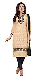 Sree Impex Women Chanderi Semi Stitched Salwar Suit Dress Material (SI-SK-8_Beige_Free Size)