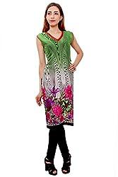 Kurti Studio Festive Green Unstitched Cotton Kurti Dress Material