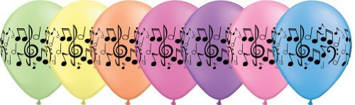 "Single Source Party Supplies - 11"" Music Notes Neon Assortment Latex Balloons Bag of 10 - 1"