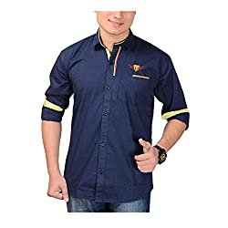 AEDI Mens Navy Blue Casual shirt (Navy Blue_40)