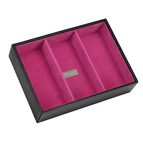 Stackers Jewellery Box   Classic Black & Pink Velvet Deep 3 Stacker