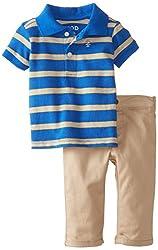 Izod Babys Newborn 2 Piece Polo Short Sleeve Sets Twill, Royal Blue, 3-6 Months