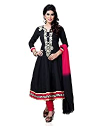 Diva Fusion Womens Cotton Anarkali Semi-Stitched Dress Material (Dfa127 _Black And Maroon)