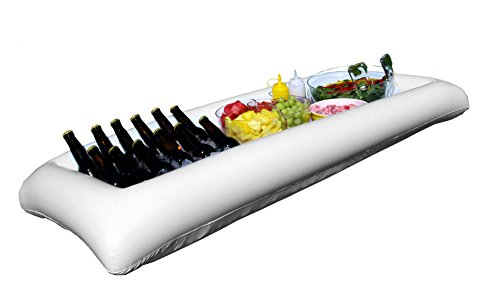 Large White Inflatable Serving Bar Buffet Cooler With Drain Plug - perfect blow up server caddy to keep food salad and drinks cold - great for outdoor and indoor parties (Hot Tub Bar compare prices)
