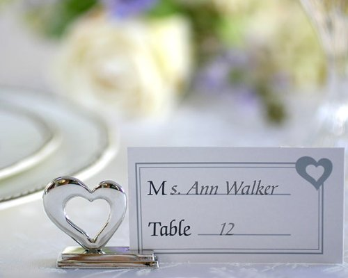 Playful Hearts' Silver Place card Holders with Matching Place Cards (Set of 48) - Baby Shower Gifts & Wedding Favors