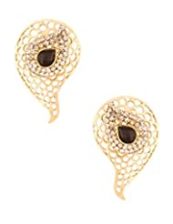 Voylla Gold Toned Dangler Earrings Embellished With CZ & Black Stones