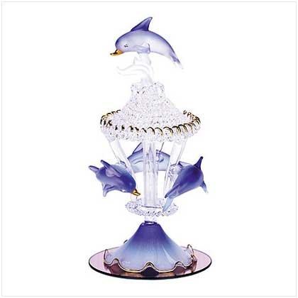 Gifts & Decor Spun Glass Dolphin Carousel Mirrored Base Figurine