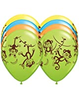 "TEN (10) 11"" latex MONKEY GO BANANAS Happy Birthday PARTY Balloons Decorations Supplies"