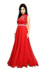 RK Fab Women's georgette unstitched gown red (rk_083)